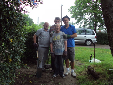Four of the gardening group tidying the Lime Grove garden
